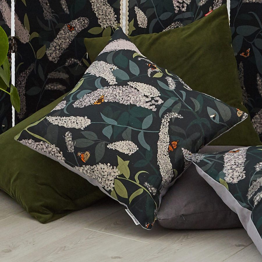 buddleia cushion - green hues - Lorna Syson