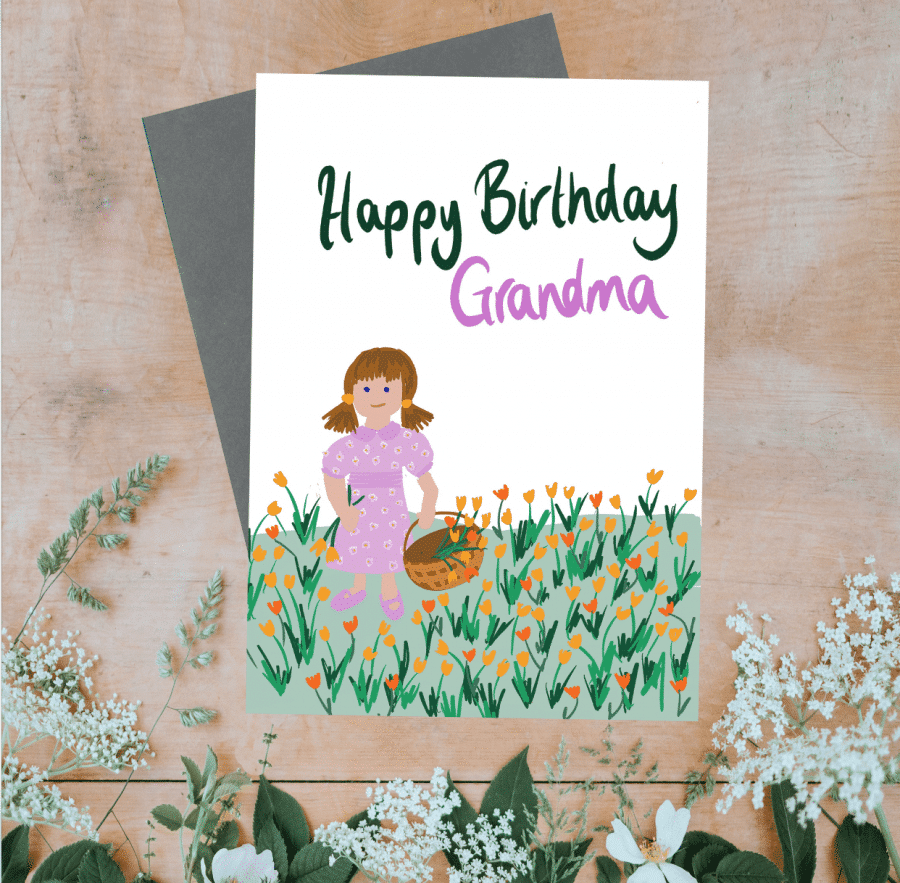 Greetings Card Luxury Designer Personalised Message Sustainable Environmentally Friendly FSC Paper Plastic Free - Happy Birthday Grandma