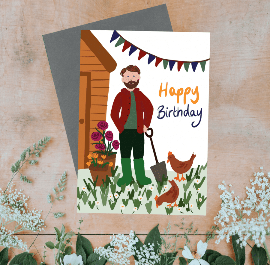 Greetings Card Luxury Designer Personalised Message Sustainable Environmentally Friendly FSC Paper Plastic Free - Happy birthday, gardener with chickens