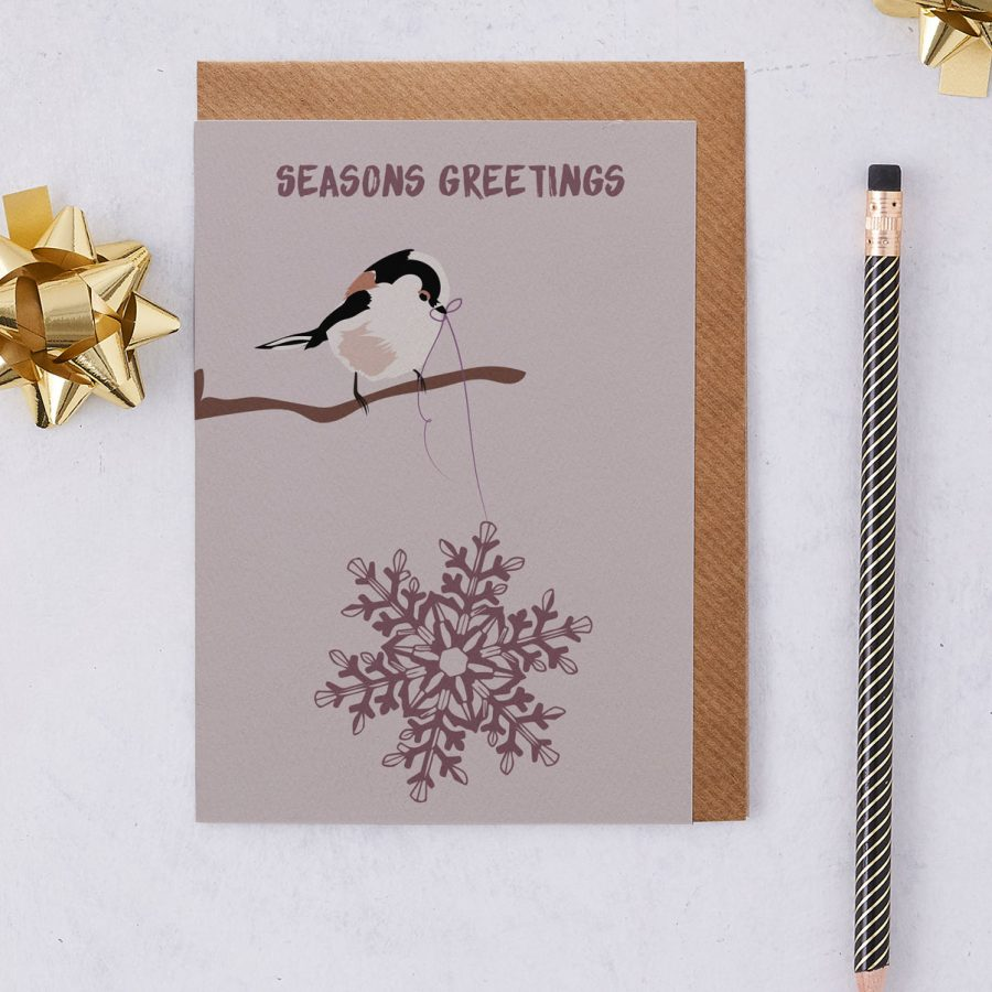 Christmas Card Luxury Designer Personalised Message Sustainable Environmentally Friendly FSC Paper Plastic Free - Seasons Greetings - christmas greetings card - Long Tailed Tit - British - stationery