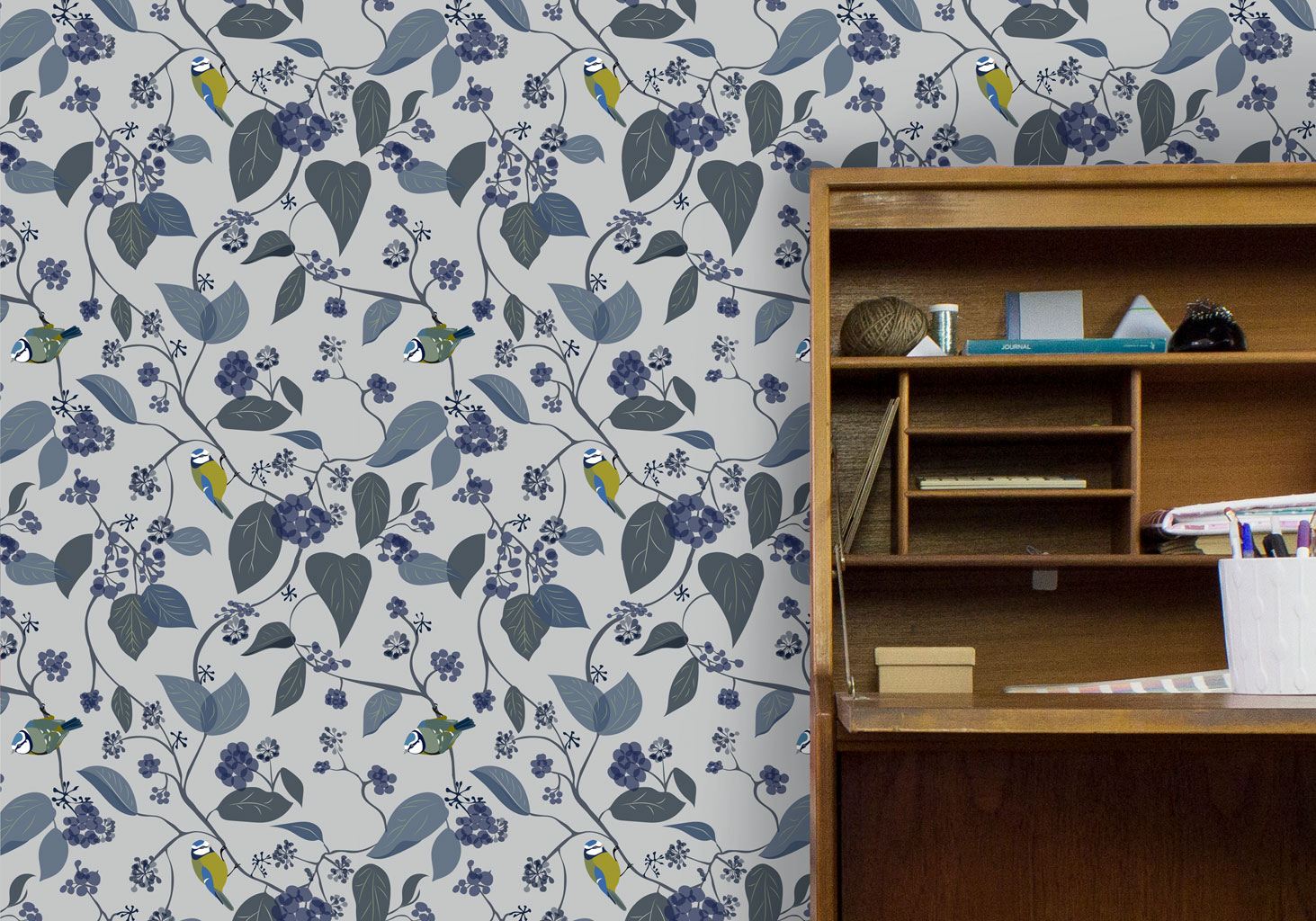 Great Tit Luxury Designer Wallpaper Handmade UK Designer Floral Fabrics Lampshades Interior Accessories Bespoke British Birds Wildlife Flowers