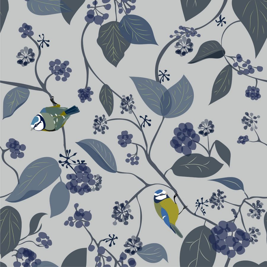 Spring Ivy Blue Wallpaper - Blue Tit Bird - blue and grey - Lorna Syson living