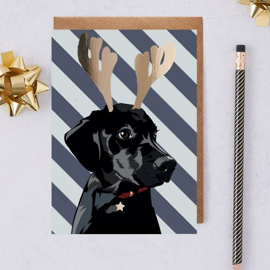 Christmas Card Luxury Designer Personalised Message Sustainable Environmentally Friendly FSC Paper Plastic Free - Christmas Bolt - Black Labrador