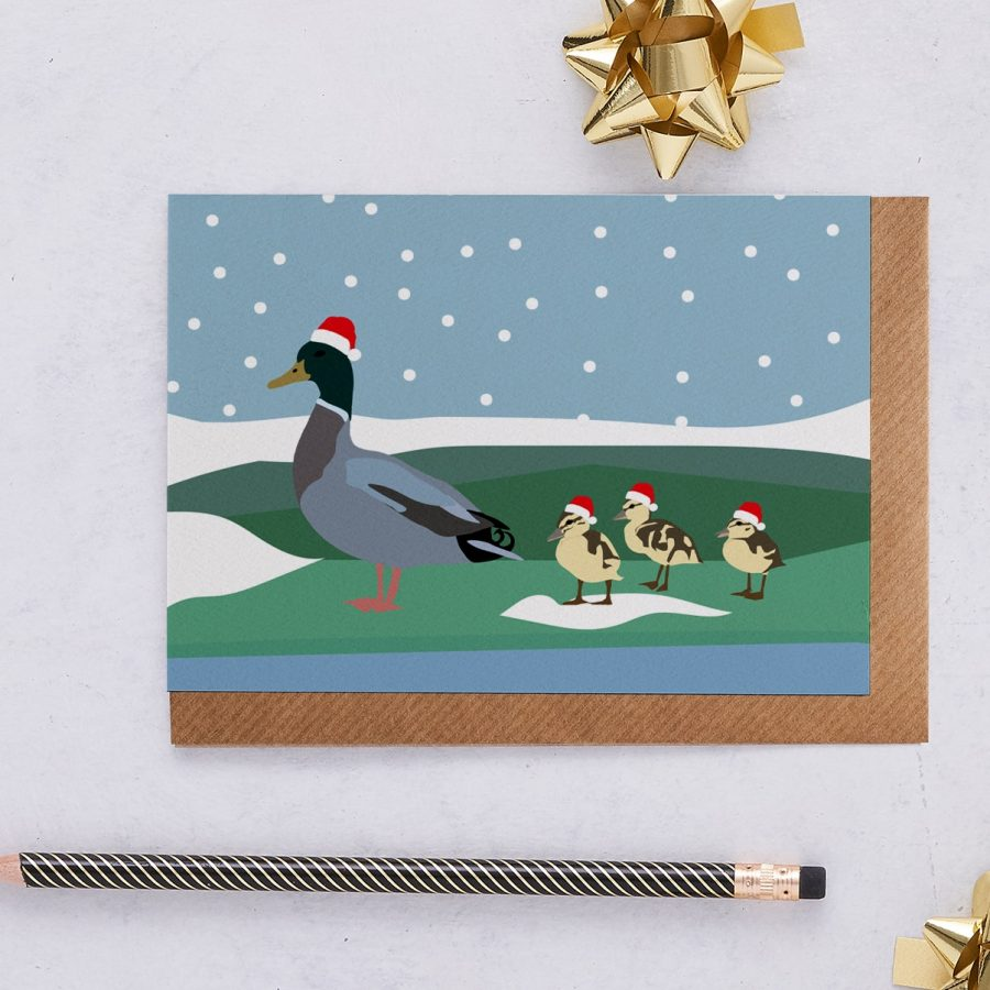Christmas Card Luxury Designer Personalised Message Sustainable Environmentally Friendly FSC Paper Plastic Free - Christmas duck family