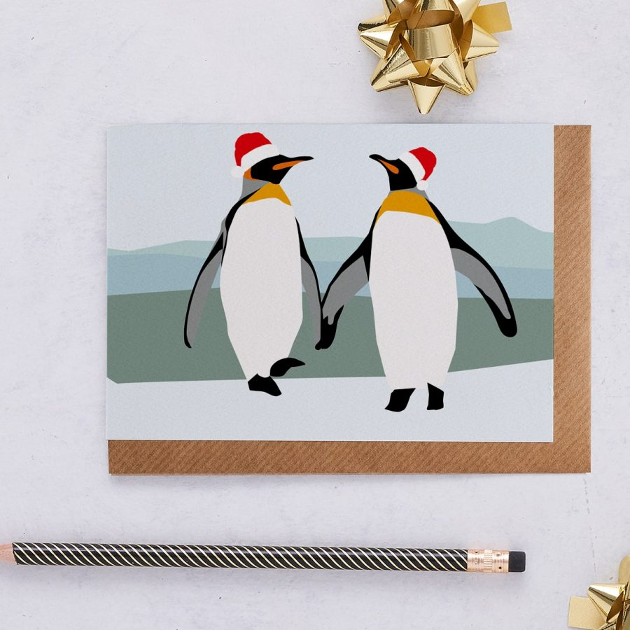 Christmas Card Luxury Designer Personalised Message Sustainable Environmentally Friendly FSC Paper Plastic Free - Christmas Penguins in Hats
