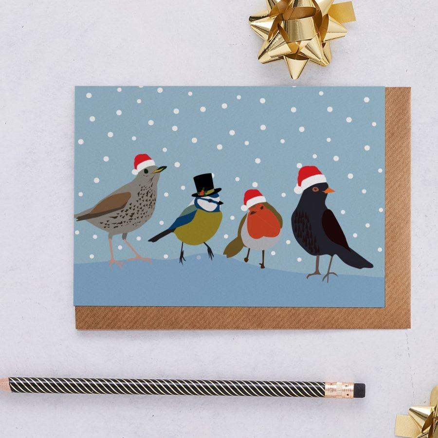 Christmas Card Luxury Designer Personalised Message Sustainable Environmentally Friendly FSC Paper Plastic Free - Songbird Christmas Card