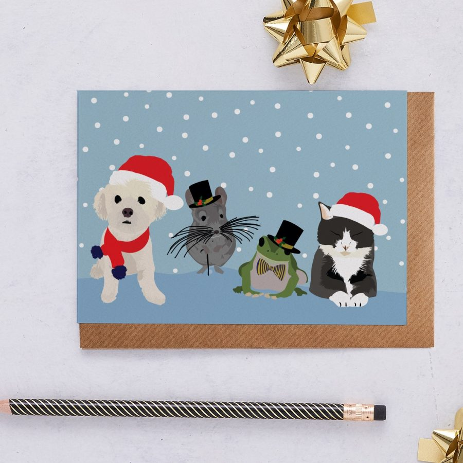 Christmas Card Luxury Designer Personalised Message Sustainable Environmentally Friendly FSC Paper Plastic Free - Pets Christmas Card