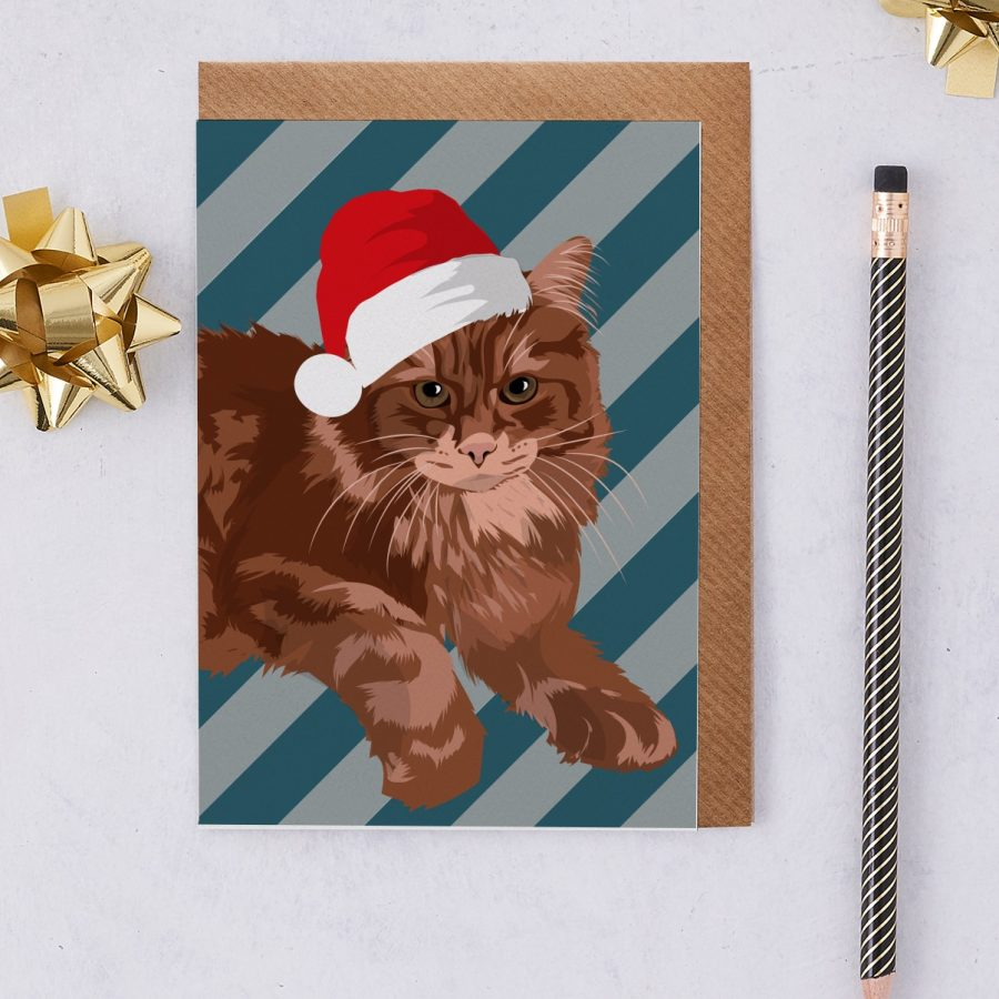 Christmas Card Luxury Designer Personalised Message Sustainable Environmentally Friendly FSC Paper Plastic Free - Main Coon Cat Christmas Card