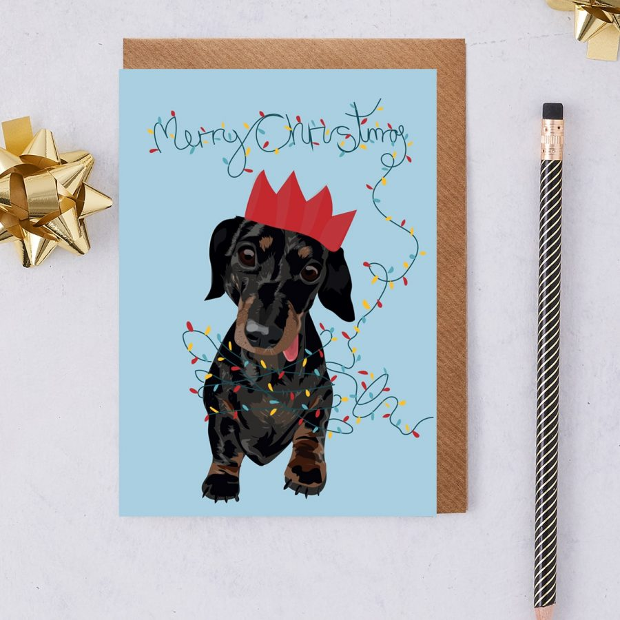 Christmas Card Luxury Designer Personalised Message Sustainable Environmentally Friendly FSC Paper Plastic Free - slinky sausage dog