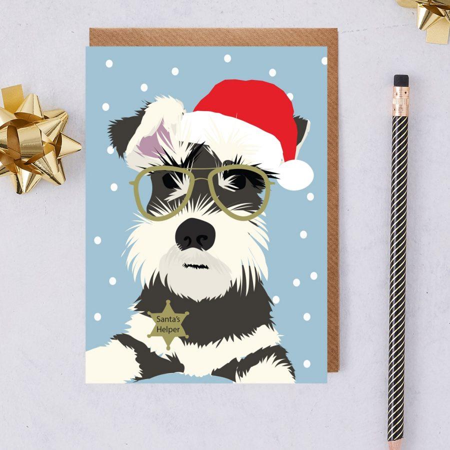 christmas card, monty christmas card, santa hat, dog christmas card, dog card