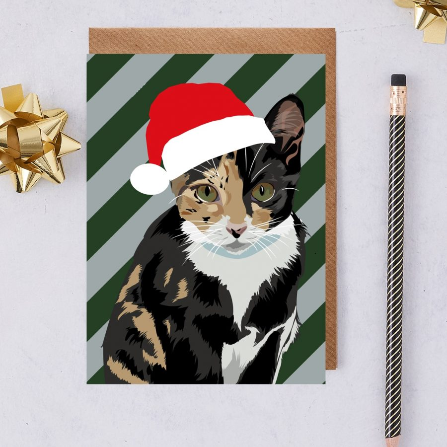 Christmas Card Luxury Designer Personalised Message Sustainable Environmentally Friendly FSC Paper Plastic Free - tabby cat in santa hat