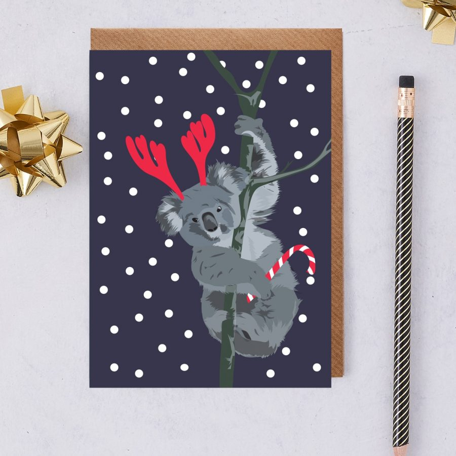 Christmas Card Luxury Designer Personalised Message Sustainable Environmentally Friendly FSC Paper Plastic Free - christmas koala