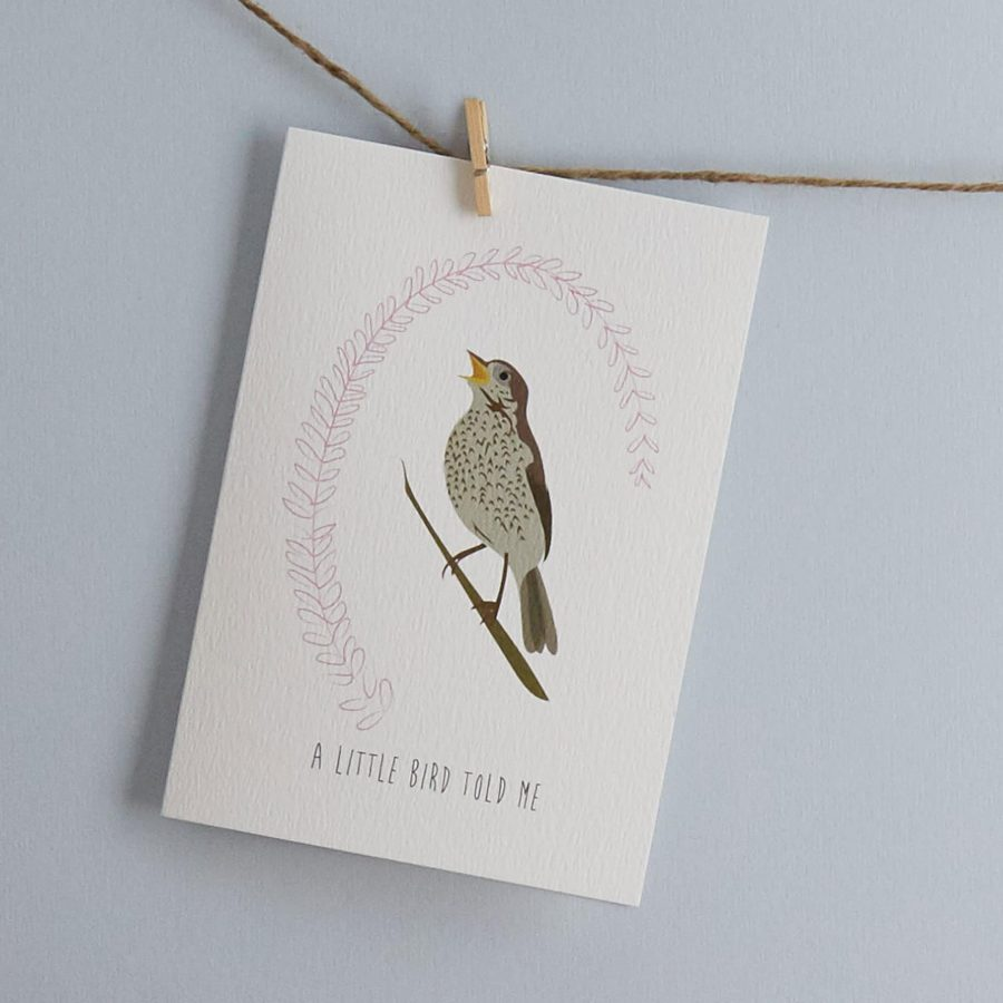 A little bird told me greetings card designed by lorna syson