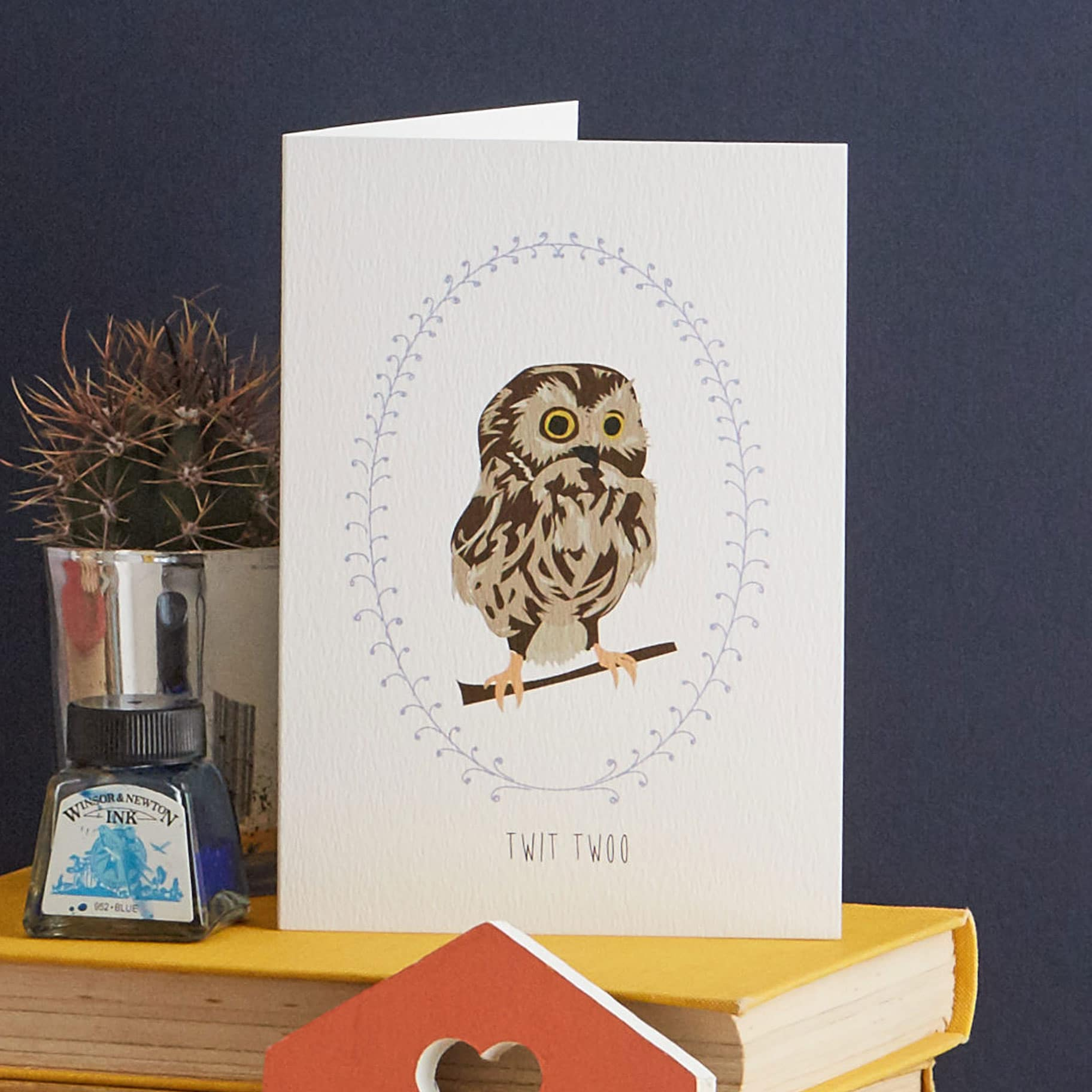 Twit Twoo, this little owl is a great wedding card, or to send to someone you love. Designed by Lorna Syson