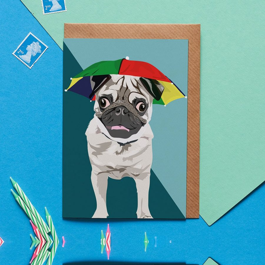 Arnie The Pug Card designed by Lorna Syson