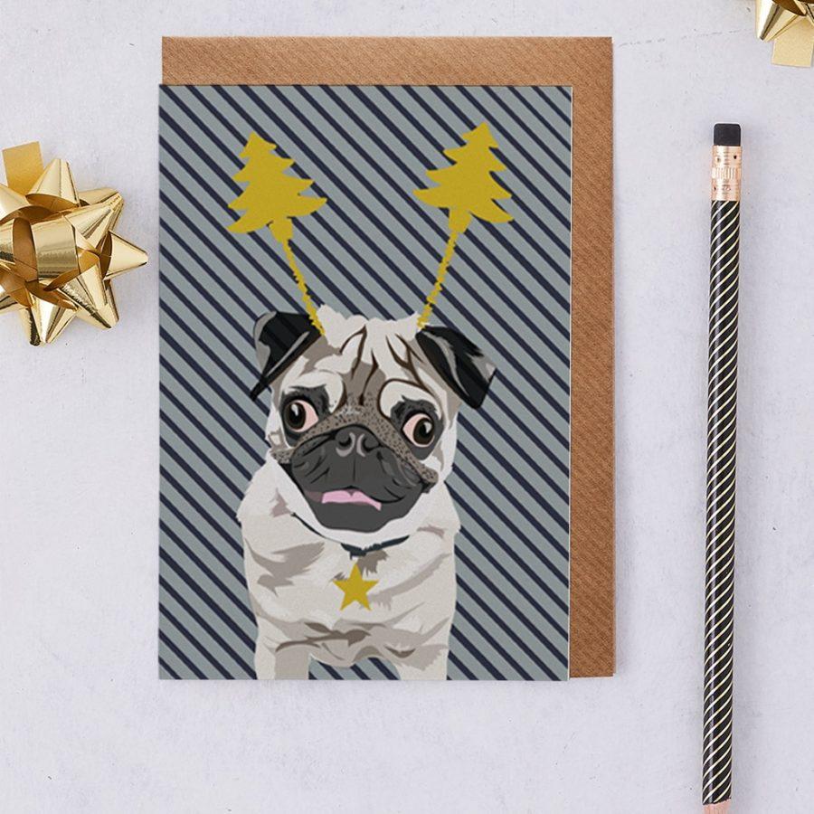 Christmas Pug Arnie - Foiled