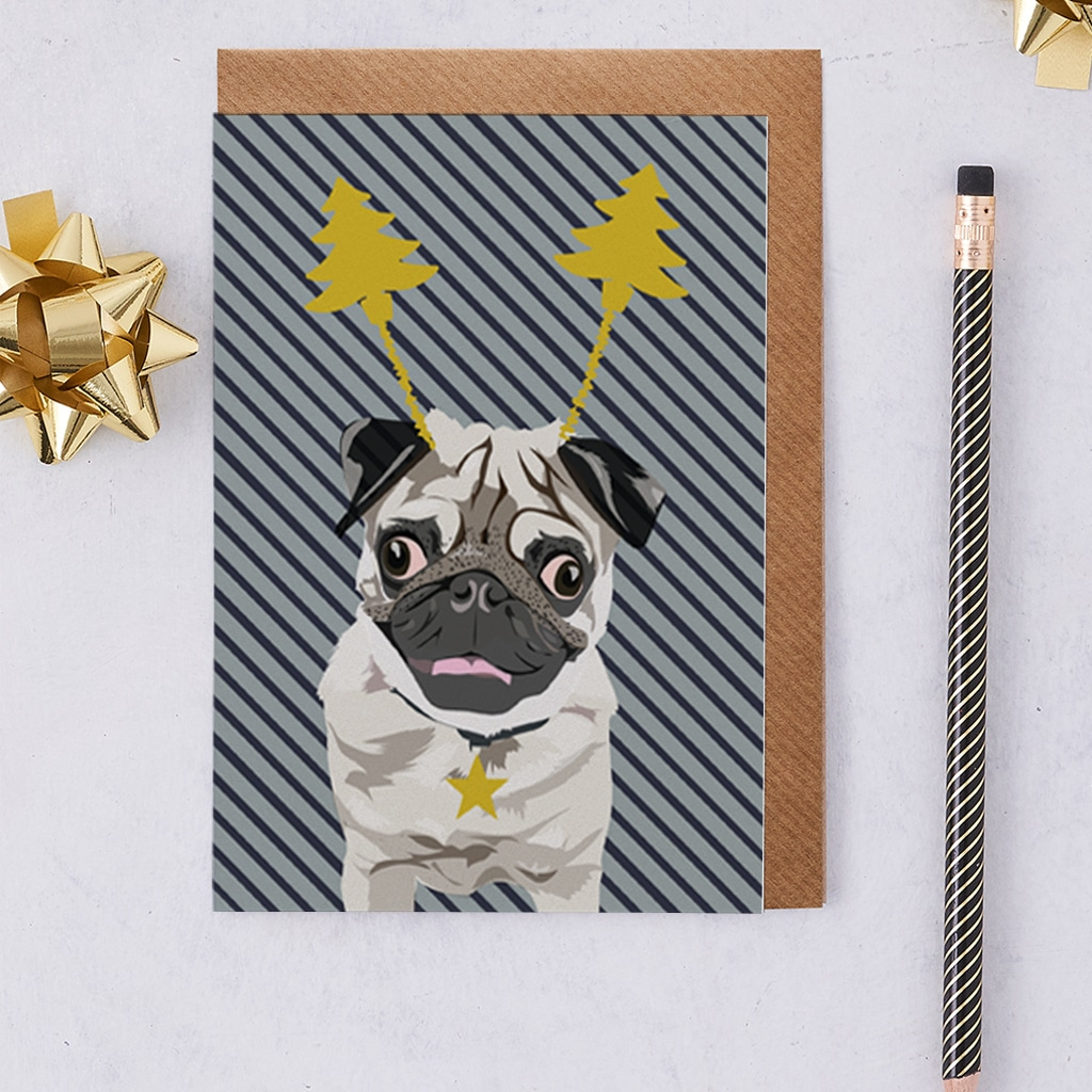 Christmas Card Luxury Designer Personalised Message Sustainable Environmentally Friendly FSC Paper Plastic Free - Christmas Pug Arnie - Foiled