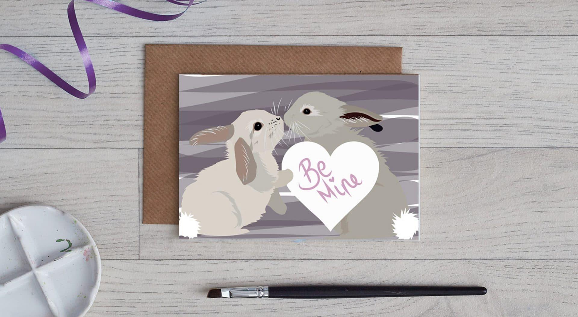 Be mine, rabbit valentines day card