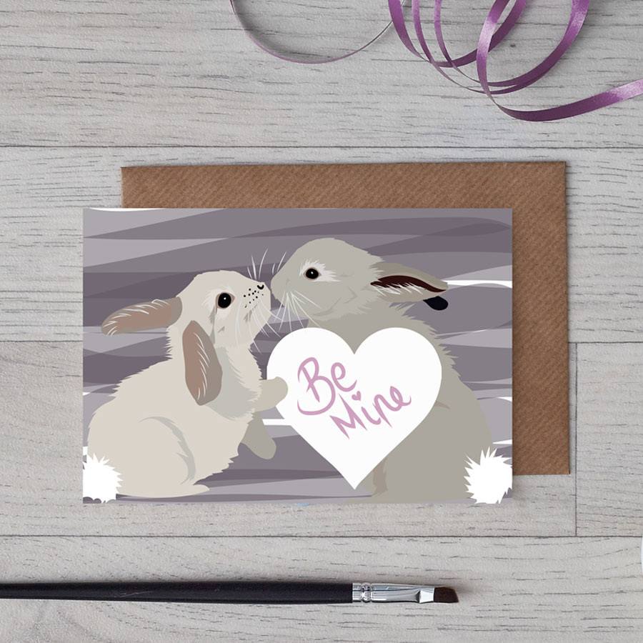 Be Mine Rabbit Card for Valentine's Day designed by Lorna Syson