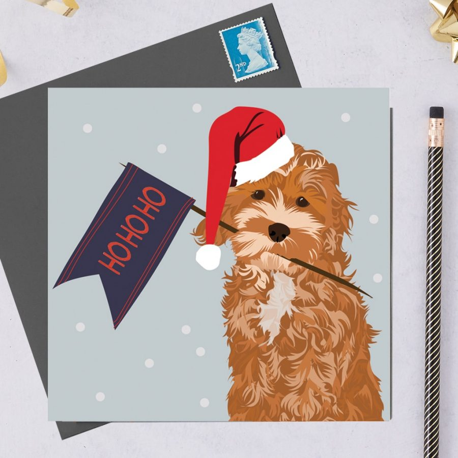 Christmas Card Luxury Designer Personalised Message Sustainable Environmentally Friendly FSC Paper Plastic Free hearing dogs dog charity card charity greetings card - cockapoo