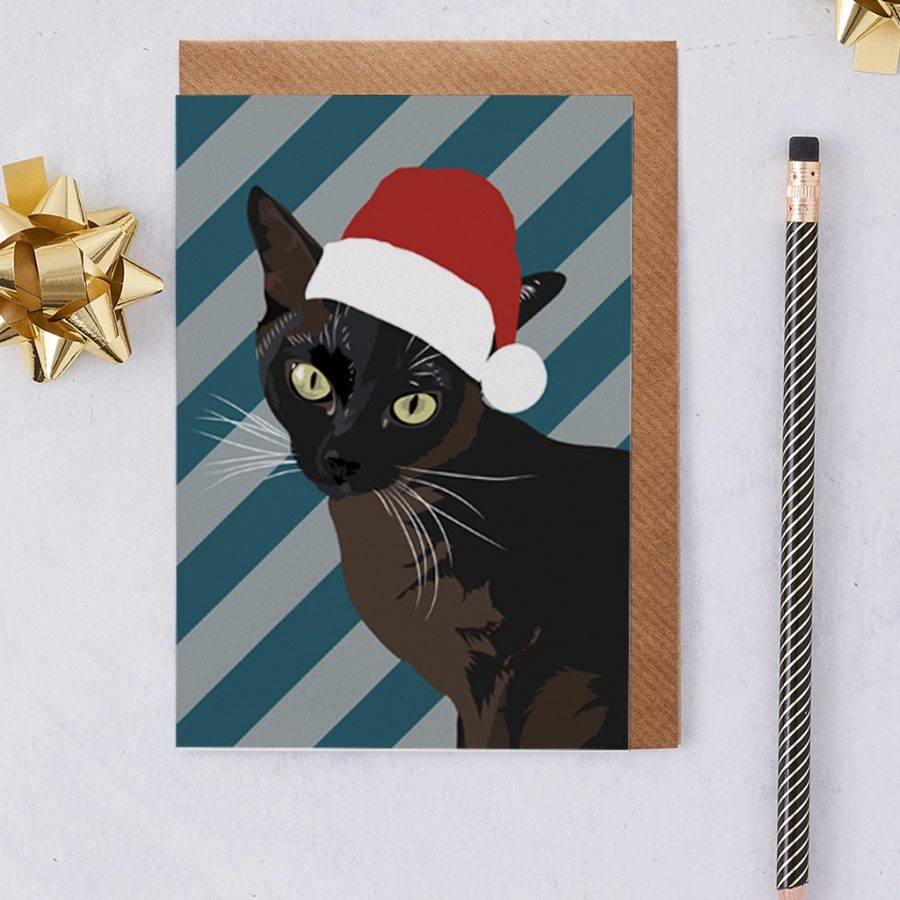 Christmas Card Luxury Designer Personalised Message Sustainable Environmentally Friendly FSC Paper Plastic Free - Christmas Siamese cat Betty wearing a Santa hat
