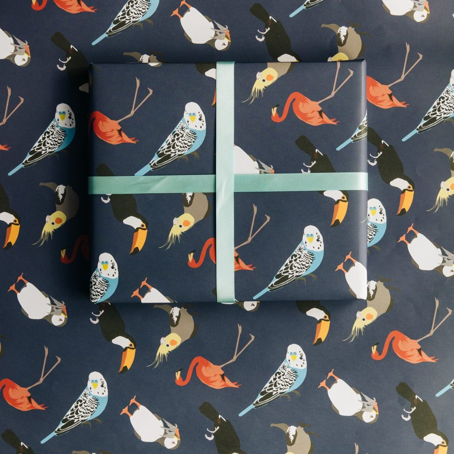 wrapping paper, luxury wrapping paper, gift wrap, plastic free, FSC Paper, enviromentally friendly, sustainable, birthday paper, birthday wrapping paper. gifts bird wrapping paper
