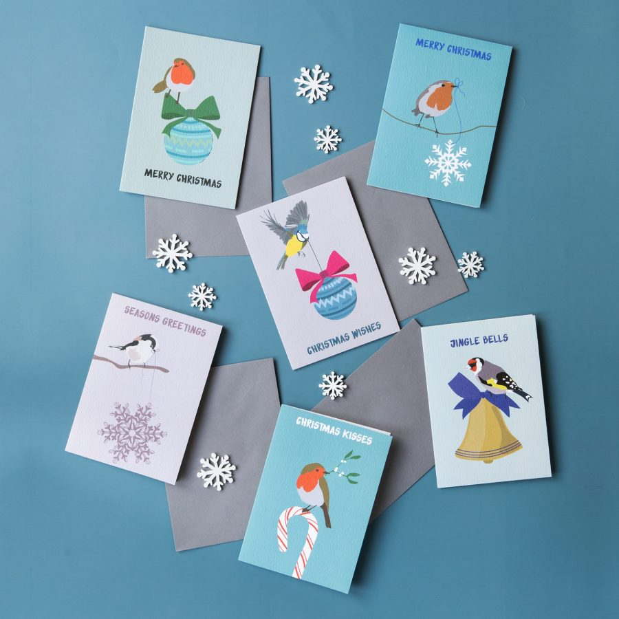 luxury christmas cards, bird christmas cards, christmas card, luxury cards, designer cards, bird cards, robin christmas card, bluetit christmas card, longtailed tit, goldfinch, greeting cards pack, FSC card, eco-friendly