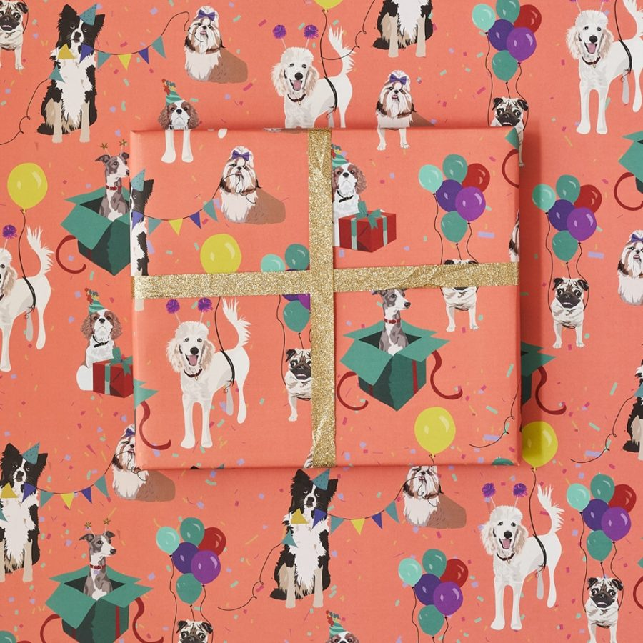 Birthday dog wrapping paper designed by Lorna Syson