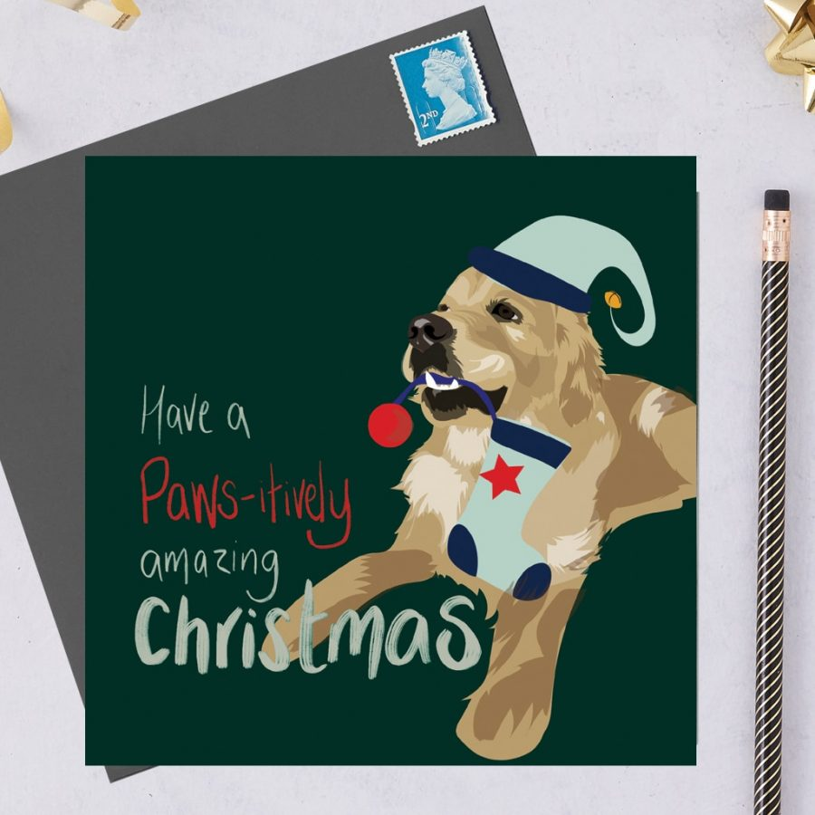Christmas Card Luxury Designer Personalised Message Sustainable Environmentally Friendly FSC Paper Plastic Free hearing dogs dog charity card charity greetings cardCharity Christmas card - Golden retriever