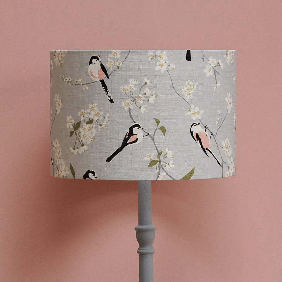 lampshade, designer lampshade, british lampshade, lighting, drum lampshade, lamp, hummingbird lampshade, grey lampshade RSPB blossom and bird lampshade with long tailed tit design on british cherry blossom