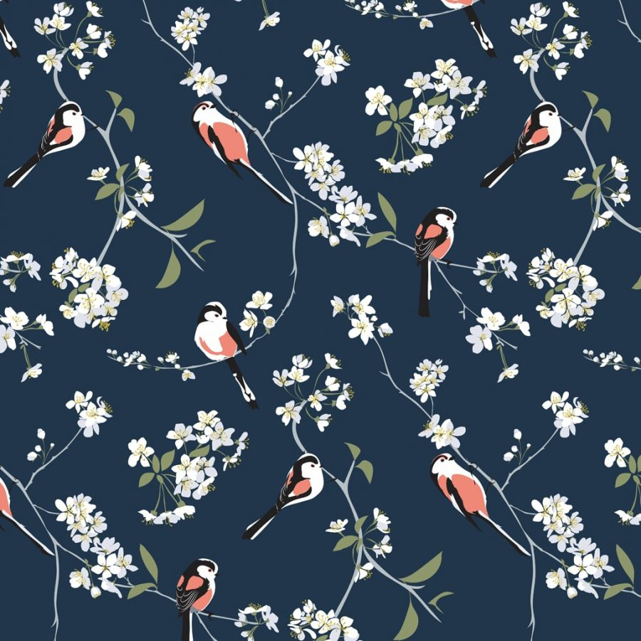 wallpaper, wallpaper deisgn, british wallpaper designer, designer home, hummingbird wallpaper navy wallpaperRSPB blossom and bird navy wallpaper designed by Lorna Syson