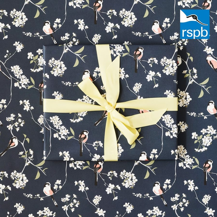 RSPB blossom and bird wrapping paper with long tailed tits designed by Lorna Syson