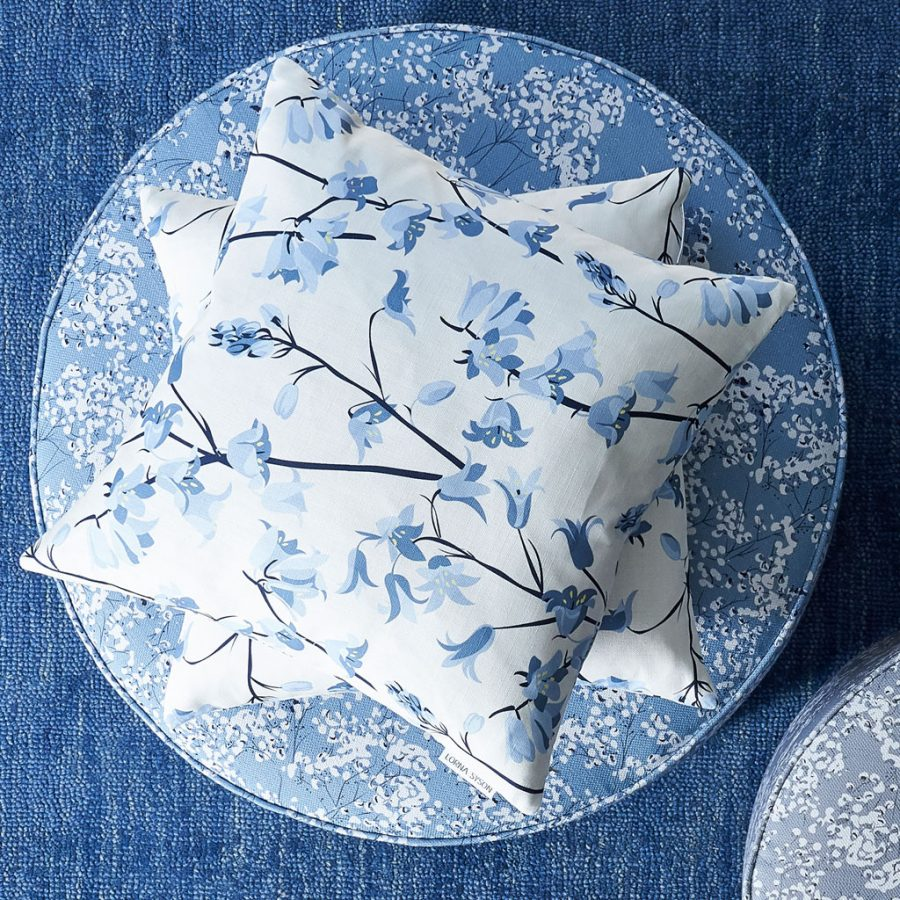 cushion, bird cushion, floral cushion, luxury cushion, designer cushion, uk designer, RSPB cushion, designer home, designer interiors, bird design, Designer bluebell cushions