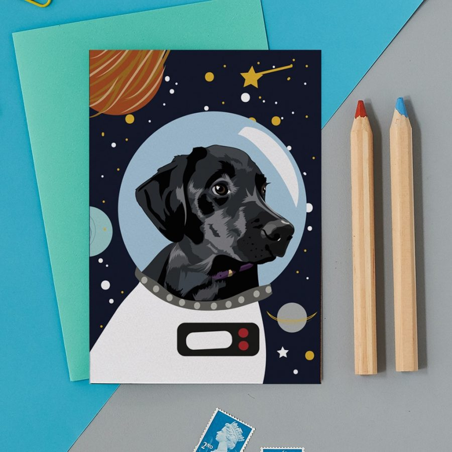 Greetings Card Luxury Designer Personalised Message Sustainable Environmentally Friendly FSC Paper Plastic Free - space black lab