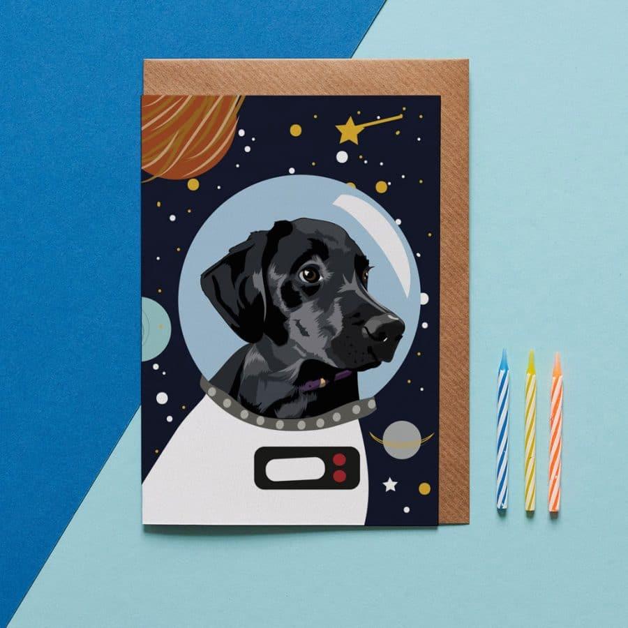 Bolt The Black Lab Astro Dog Card