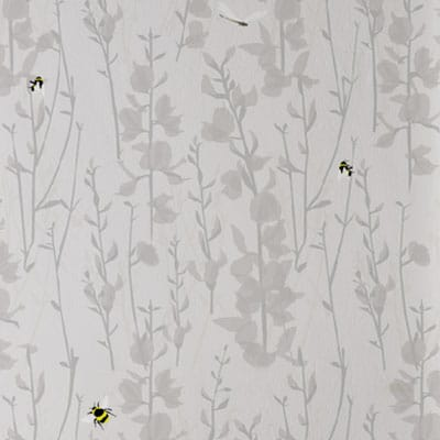 Bee Wallpaper - Grey floral and bees - Lorna Syson