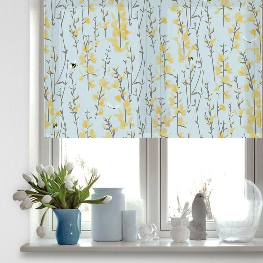 blue bee roller blind - sky blue and yellow - lorna syson homeware