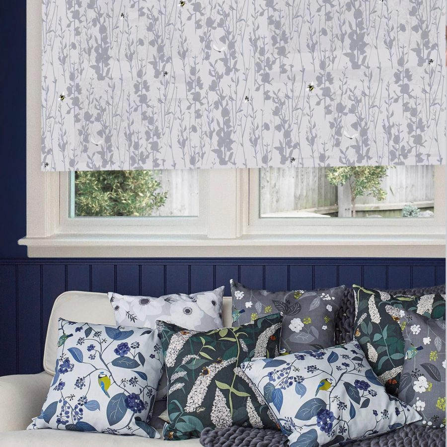 Broom and Bee dusk roller blind designed by Lorna Syson and printed by order blinds