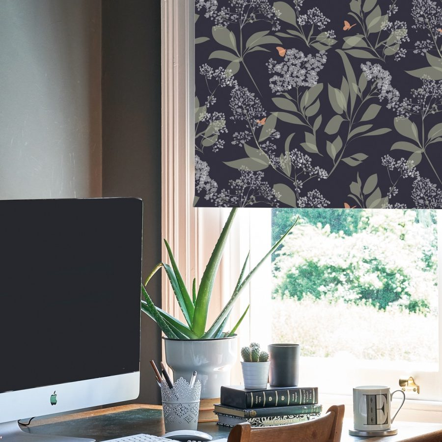 purple butterfly roller blind - Dark purple and copper - lorna syson homeware