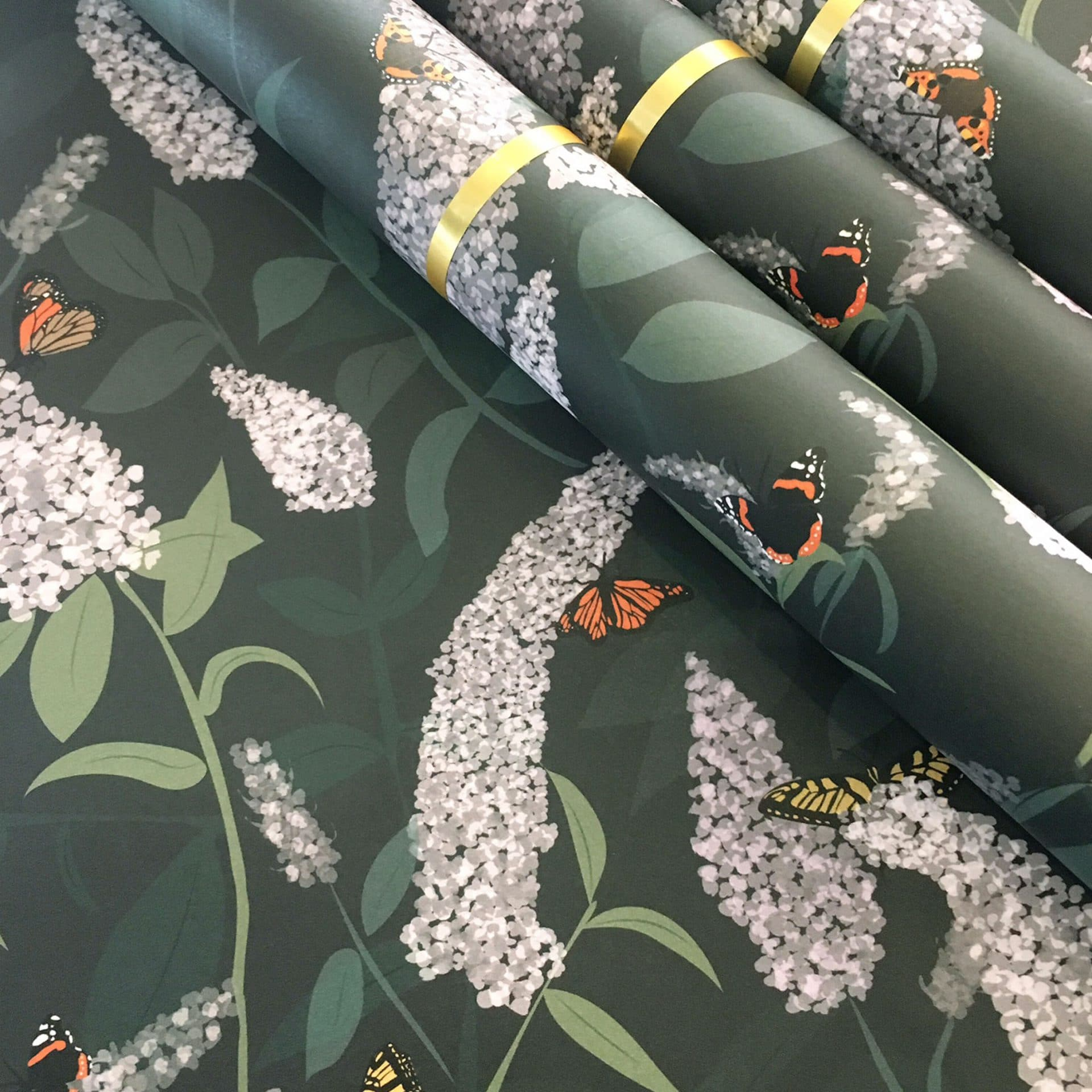 Buddleia floral patterned giftwrap by Lorna Syson.