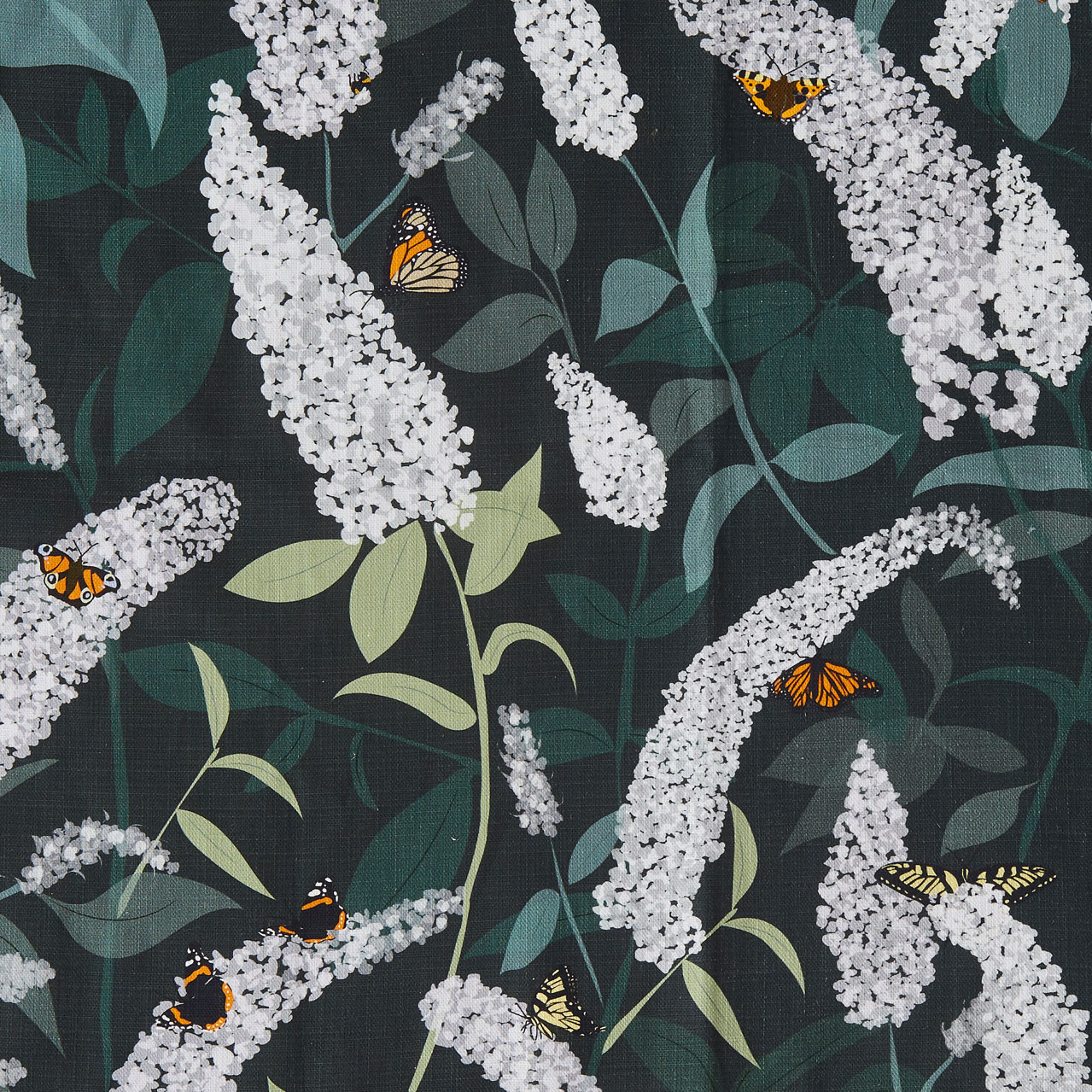 Green butterfly fabric for upholstery - Bees and Buddleia - Lorna Syson