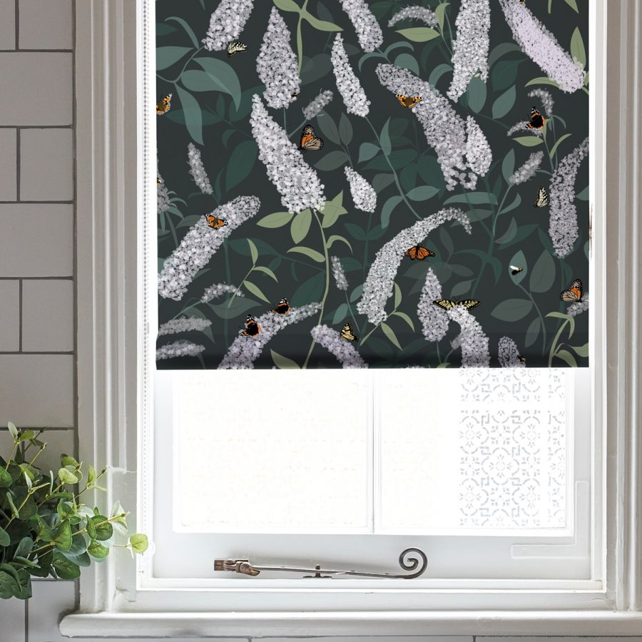 green butterfly roller blind - buddleia plant - lorna syson homeware