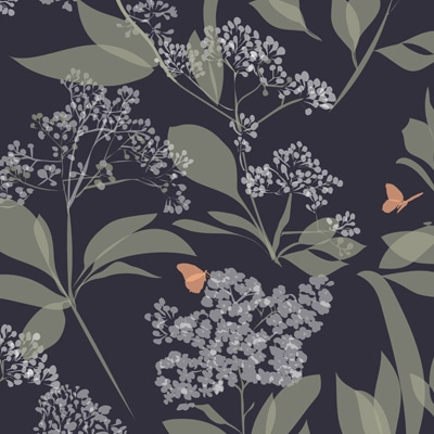 Green and purple floral wallpaper - butterflies and flowers - Lorna Syson