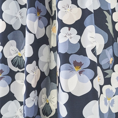 Blue floral fabric for upholstery - Pansy Flower - Lorna Syson
