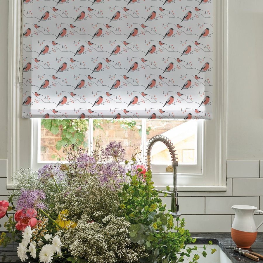 bullfinch roller blind - peach bird design - lorna syson homeware