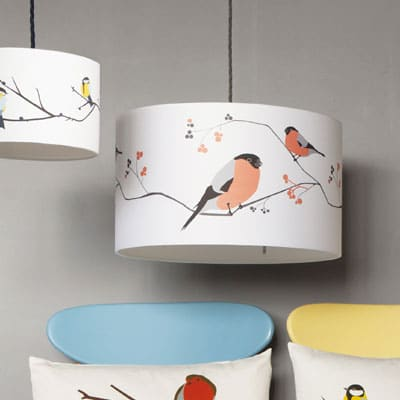 bird lampshade - bullfinch bird design - lorna syson homeware
