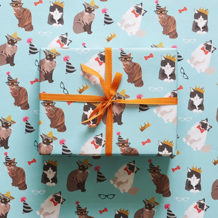 Cat wrapping paper designed by Lorna Syson