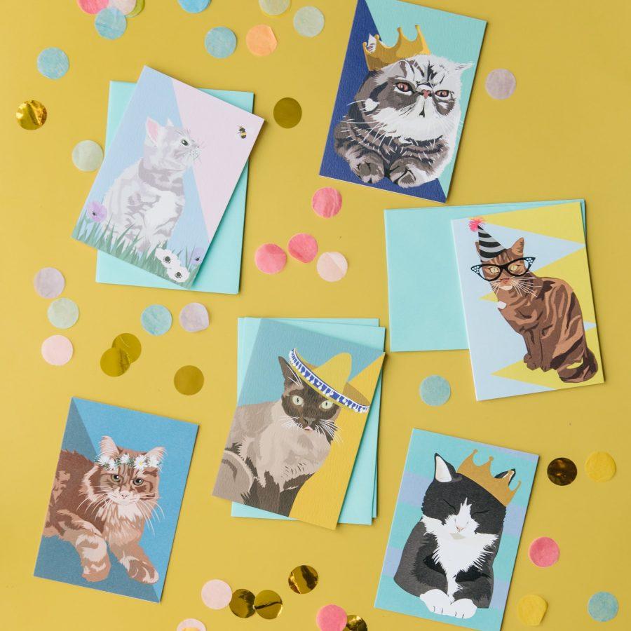 luxury cat greeting card, cat greeting card set, cat notlets, cat set, cat notelet sets, british shorthair cat, siamese cat, Persian cat, tabby cat, maine coon cat, eco-friendly, FSC, luxury designer