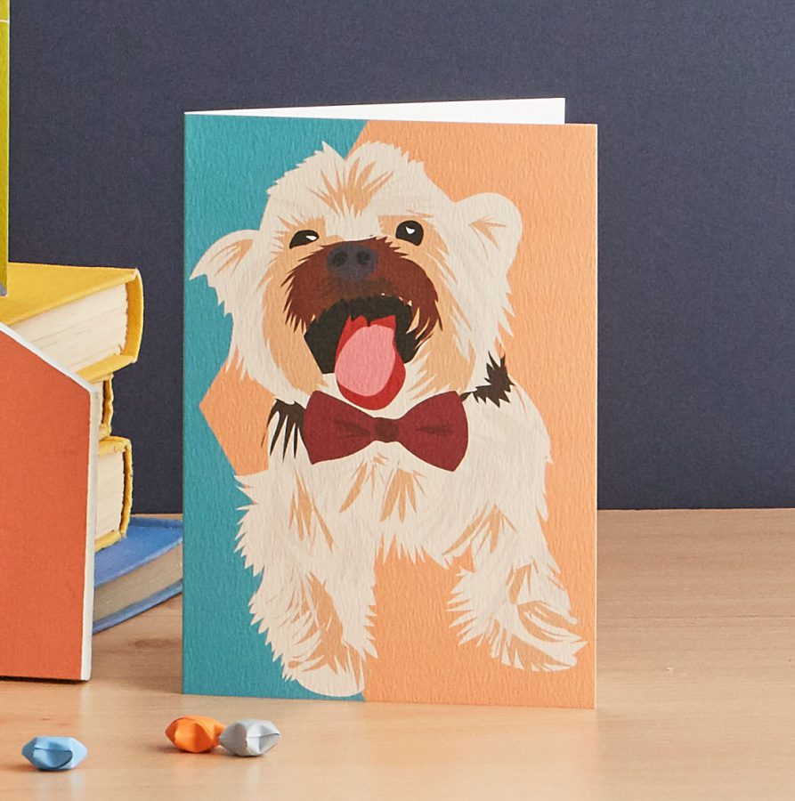 westie dog card illustration by lorna syson