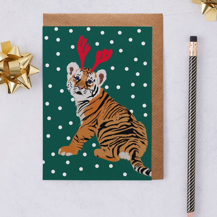 Christmas Card Luxury Designer Personalised Message Sustainable Environmentally Friendly FSC Paper Plastic Free - christmas tiger - christmas greetings card - antlers - stationery